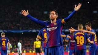 Leo Messi celebrates his 100 goal in the Champions League during the match between FC Barcelona and Chelsea FC, for the secong leg of the 1/8 final of the UEFa Champions League, played at the Camp Nou Stadium on 14th March 2018 in Barcelona, Spain.   -- (Photo by Urbanandsport/NurPhoto)