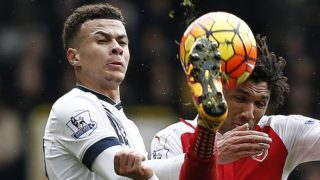 Tottenham Hotspur's English midfielder Dele Alli (L) vies with Arsenal's Egyptian midfielder Mohamed Elneny during the English Premier League football match between Tottenham Hotspur and Arsenal at White Hart Lane in London, on March 5, 2016. / AFP PHOTO / ADRIAN DENNIS / RESTRICTED TO EDITORIAL USE. No use with unauthorized audio, video, data, fixture lists, club/league logos or 'live' services. Online in-match use limited to 75 images, no video emulation. No use in betting, games or single club/league/player publications.  /