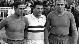 After a game in Madrid on May 11th 1958 Hungarian soccer player and goalgetter Ferenc Puskas (middle) is posing for photographers with the two soccer stars from Real Madrid Raymond Kopa (l) and Alfredo di Stefano. The former team captain of Hungary's soccer team is transferring to Madrid by August 15th 1958.