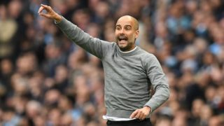 Manchester City's Spanish manager Pep Guardiola shouts instructions to his players from the touchline during the English Premier League football match between Manchester City and Manchester United at the Etihad Stadium in Manchester, north west England, on April 7, 2018. / AFP PHOTO / Paul ELLIS / RESTRICTED TO EDITORIAL USE. No use with unauthorized audio, video, data, fixture lists, club/league logos or 'live' services. Online in-match use limited to 75 images, no video emulation. No use in betting, games or single club/league/player publications.  /