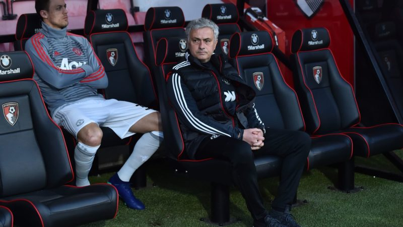 Manchester United's Serbian midfielder Nemanja Matic (L) and Manchester United's Portuguese manager Jose Mourinho await kick off in the English Premier League football match between Bournemouth and Manchester United at the Vitality Stadium in Bournemouth, southern England on April 18, 2018. / AFP PHOTO / Glyn KIRK / RESTRICTED TO EDITORIAL USE. No use with unauthorized audio, video, data, fixture lists, club/league logos or 'live' services. Online in-match use limited to 75 images, no video emulation. No use in betting, games or single club/league/player publications.  /