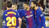 """Barcelona's Uruguayan forward Luis Suarez (C) celebrates a goal with Barcelona's Portuguese midfielder Andre Gomes (R) and Barcelona's Spanish defender Jordi Alba during the Spanish league football match between Real Sociedad  and FC Barcelona at the Anoeta stadium in San Sebastian on January 14, 2018. / AFP PHOTO / ANDER GILLENEA / """"The erroneous mention[s] appearing in the metadata of this photo by ANDER GILLENEA has been modified in AFP systems in the following manner: [Barcelona's Portuguese midfielder Andre Gomes] instead of [Barcelona's Brazilian midfielder Paulinho]. Please immediately remove the erroneous mention[s] from all your online services and delete it (them) from your servers. If you have been authorized by AFP to distribute it (them) to third parties, please ensure that the same actions are carried out by them. Failure to promptly comply with these instructions will entail liability on your part for any continued or post notification usage. Therefore we thank you very much for all your attention and prompt action. We are sorry for the inconvenience this notification may cause and remain at your disposal for any further information you may require."""""""