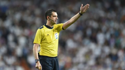 Referee Viktor Kassai in action during the Champions League quarter final tie between Real Madrid and Bayern Munich in Madrid, Spain, 18 April 2017. Madrid won 4:2 on the night and 6:3 on aggregate. Photo: Andreas Gebert/dpa