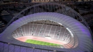 An exterior view of the Khalifa International Stadium in Doha, Qatar, 4 January 2018. The final round of the Soccer World Cup will be held in Qatar in 2022. Photo: Sven Hoppe/dpa