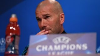 24 April 2018, Germany, Munich: soccer, Champions League, FCBayern Muenchen vs Real Madrid, Allianz Arena: Zinedine Zidane, head coach of Real Madrid, speaking to representatives of the media during a press conference of Real Madrid. Real Madrid is playing against FCBayern Muenchen in the Champions League match on 25 April 2018. Photo: Andreas Gebert/dpa