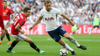 Harry Kane of Tottenham Hotspur battles with Manchester United Midfielder Ander Herrera during the English FA Cup Semi Final football match between Manchester United and Tottenham Hotspur on April 21, 2018 at Wembley Stadium in London, England - Photo Phil Duncan / ProSportsImages / DPPI