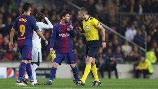 LIONEL MESSI of FC Barcelona argues with Referee DAMIR SKOMINA during the UEFA Champions League, round of 16, 2nd leg football match between FC Barcelona and Chelsea FC on March 14, 2018 at Camp Nou stadium in Barcelona, Spain - Photo Manuel Blondeau / AOP Press / DPPI
