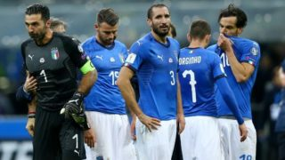 The disappointment of Gianluigi Buffon of Italy and the teammates at San Siro Stadium in Milan, Italy on November 13, 2017. (Photo by Matteo Ciambelli/NurPhoto)