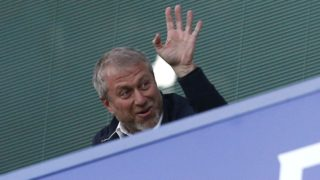 Chelsea's Russian owner Roman Abramovich waves during the English Premier League football match between Chelsea and Middlesbrough at Stamford Bridge in London on May 8, 2017. / AFP PHOTO / Ian KINGTON / RESTRICTED TO EDITORIAL USE. No use with unauthorized audio, video, data, fixture lists, club/league logos or 'live' services. Online in-match use limited to 75 images, no video emulation. No use in betting, games or single club/league/player publications.  /