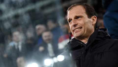 Juventus' Italian coach Massimiliano Allegri reacts during the UEFA Champions League quarter-final first leg football match between Juventus and Real Madrid at the Allianz Stadium in Turin on April 3, 2018. / AFP PHOTO / Marco BERTORELLO