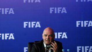 FIFA President Gianni Infantino speaks to journalists on March 16, 2018 in Bogota, Colombia, after FIFA Council meeting. FIFA on Friday approved the video arbitration (VAR) for the World Cup of Russia-2018, a controversial system with which seeks the reduction of errors in football, informed Infantino. / AFP PHOTO / Luis ACOSTA