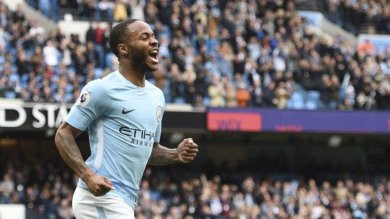 Manchester City's English midfielder Raheem Sterling celebrates scoring their second goal during the English Premier League football match between Manchester City and Swansea at the Etihad Stadium in Manchester, north west England, on April 22, 2018. / AFP PHOTO / Oli SCARFF / RESTRICTED TO EDITORIAL USE. No use with unauthorized audio, video, data, fixture lists, club/league logos or 'live' services. Online in-match use limited to 75 images, no video emulation. No use in betting, games or single club/league/player publications.  /