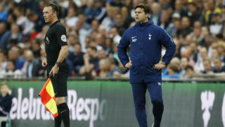 Tottenham Hotspur's Argentinian head coach Mauricio Pochettino (R) looks on during the English Premier League football match between Tottenham Hotspur and Newcastle United at Wembley Stadium in London, on May 9, 2018. / AFP PHOTO / Ian KINGTON / RESTRICTED TO EDITORIAL USE. No use with unauthorized audio, video, data, fixture lists, club/league logos or 'live' services. Online in-match use limited to 75 images, no video emulation. No use in betting, games or single club/league/player publications.  /