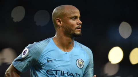 Manchester City's Belgian defender Vincent Kompany runs during the English Premier League football match between Manchester City and Brighton and Hove Albion at the Etihad Stadium in Manchester, north west England, on May 9, 2018. / AFP PHOTO / Oli SCARFF / RESTRICTED TO EDITORIAL USE. No use with unauthorized audio, video, data, fixture lists, club/league logos or 'live' services. Online in-match use limited to 75 images, no video emulation. No use in betting, games or single club/league/player publications.  /