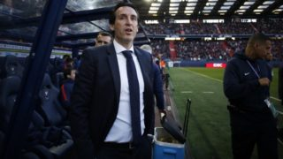 Paris Saint-Germain's Spanish headcoach Unai Emery looks on before the French L1 football match between Caen (SMC) and Paris (PSG) on May 19, 2018, at the Michel d'Ornano stadium, in Caen, northwestern France. / AFP PHOTO / CHARLY TRIBALLEAU