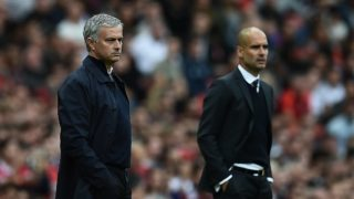 Manchester United's Portuguese manager Jose Mourinho (L) and Manchester City's Spanish manager Pep Guardiola watch from the touchline during the English Premier League football match between Manchester United and Manchester City at Old Trafford in Manchester, north west England, on September 10, 2016. / AFP PHOTO / Oli SCARFF / RESTRICTED TO EDITORIAL USE. No use with unauthorized audio, video, data, fixture lists, club/league logos or 'live' services. Online in-match use limited to 75 images, no video emulation. No use in betting, games or single club/league/player publications.  /