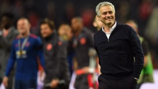 Manchester United's Portuguese manager Jose Mourinho reacts after the UEFA Europa League final football match Ajax Amsterdam v Manchester United on May 24, 2017 at the Friends Arena in Solna outside Stockholm. / AFP PHOTO / Paul ELLIS