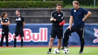 Coach Ralph Hasenhuettl (r) and Co-Trainer Zsolt Loew from German Bundesliga soccer team RB Leipzig are running a training exercise at their training camp in Grassau, Germany, 01 August 2016. Photo: SVEN HOPPE/DPA