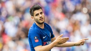 Chelsea (9) Alvaro Morata, celebrates after scoring goal during the English FA Cup, semi final football match between Chelsea and Southampton on April 22, 2018 at Wembley Stadium in London, England - Photo Sebastian Frej / ProSportsImages / DPPI