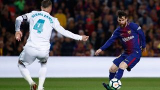 Leo Messi of FC Barcelona and Sergio Ramos from Spain of Real Madrid during the Spanish championship La Liga football match between FC Barcelona and Real Madrid on May 6, 2018 at Camp Nou stadium in Barcelona, Spain - Photo Andres Garcia / Spain DPPI / DPPI