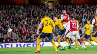 Alexandre Lacazette of Arsenal scores the opening goal during the UEFA Europa League semi final first leg football match between Arsenal and Atletico Madrid on April 26, 2018 at the Emirates Stadium in London, England - Photo Salvio Calabrese / UKSP / Spain DPPI / DPPI