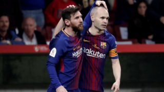 MADRID, SPAIN - APRIL 21: Andres Iniesta (R) of Barcelona celebrates with his teammate Lionel Messi (L) after scoring a goal during Copa del Rey Final soccer match between Sevilla and Barcelona at Wanda Metropolitano Stadium in Madrid, Spain on April 21, 2018. Burak Akbulut / Anadolu Agency