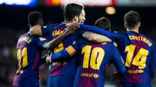 Leo Messi from Argentina celebrating his goal with Luis Suarez from Uruguay of FC Barcelona, Phillip Couthino from Brasil of FC Barcelona and Dembele from France of FC Barcelona  during  La Liga match between FC Barcelona v Girona at Camp Nou Stadium in Barcelona on 24 of February, 2018.  (Photo by Xavier Bonilla/NurPhoto)
