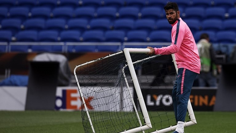 Diego Costa during the training before the final of Europa League between Atletico de Madrid against Olimpique de Marseille at Parc Olympique Lyonnais, Lyon, France. on 15 May of 2018.  (Photo by Jose Breton/NurPhoto)