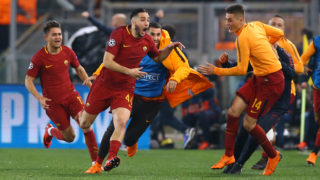 Konstantin Manolas of Roma celebrates with the teamates after the decisive goal scored at Olimpico Stadium in Rome, Italy on April 10, 2018, during UEFA Champions League Quarter Final second leg match between AS Roma and FC Barcelona.  (Photo by Matteo Ciambelli/NurPhoto)