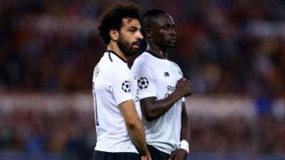 AS Roma v FC Liverpool - Champions League semi-final second leg Mohamed Salah and Sadio Mane of Liverpool at Olimpico Stadium in Rome, Italy on May 02, 2018  (Photo by Matteo Ciambelli/NurPhoto)