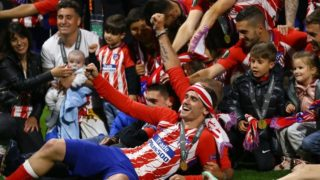 Olympique de Marseille v Atletico de Madrid - Uefa Europa League Final Antoine Griezmann of Atletico celebrates with the teammates after the award ceremony at Groupama Stadium in Lyon, France on May 16, 2018 (Photo by Matteo Ciambelli/NurPhoto)