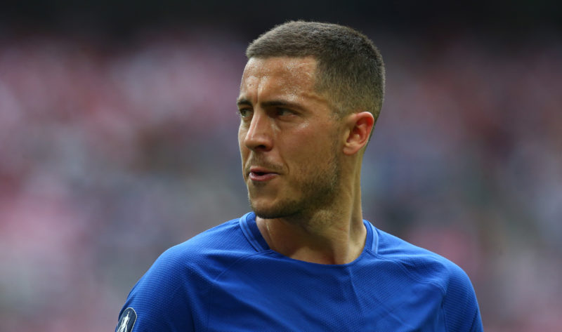 Chelsea's Eden Hazard during the FA Cup semi-final  match between Chelsea and Southampton at Wembley, London, England on 22 April 2018.    (Photo by Kieran Galvin/NurPhoto)