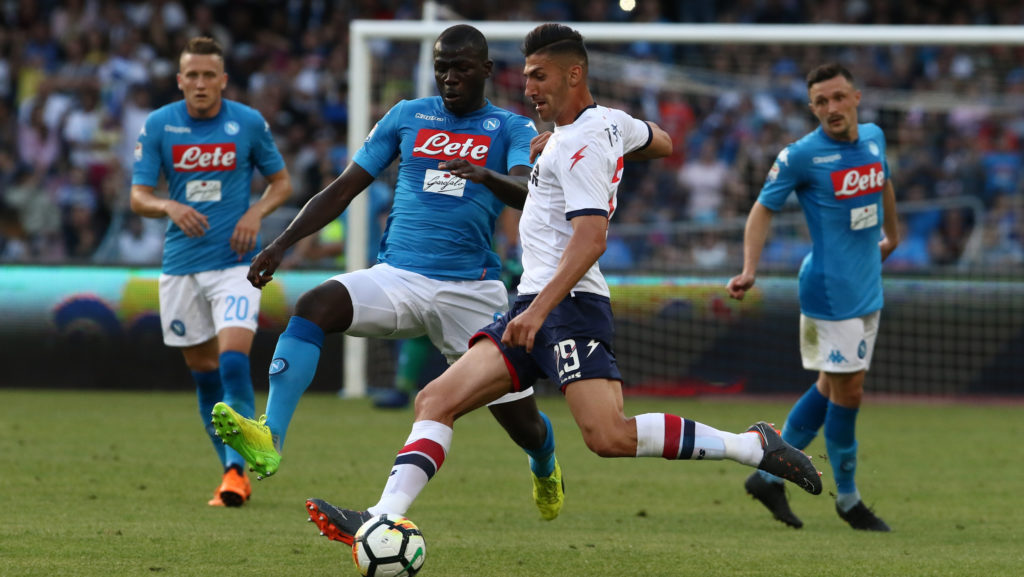 Kalidou Koulibaly (SSC Napoli) AND Marcello Trotta (FC Crotone) during the Italian Serie A football SSC Napoli v FC Crotone at S. Paolo Stadium in Naples on May 20, 2018 (Photo by Paolo Manzo/NurPhoto)