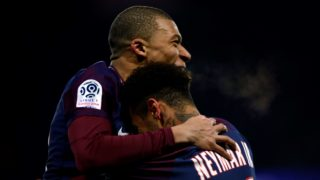 Kylian Mbappe of PSG scored a goal and celebration during the French Championship Ligue 1 soccer match between Paris Saint-Germain and Olympique de Marseille on february 25, 2018 at Parc des Princes stadium in Paris, France.  (Photo by Mehdi Taamallah/NurPhoto)