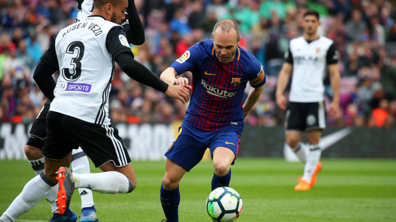 Andres Iniesta and Ruben Vezo during the match between FC Barcelona and Valencia CF, played at the Camp Nou Stadium on 14th April 2018 in Barcelona, Spain.    -- (Photo by Urbanandsport/NurPhoto)