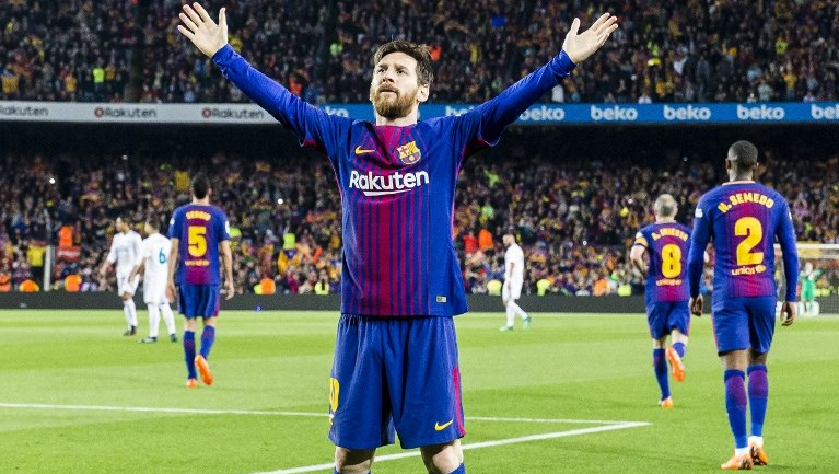 FC Barcelona forward Lionel Messi (10) celebrates scoring the goal during the match between FC Barcelona v Real Madrid, for the round 36 of the Liga Santander, played at Camp nou  on 6th May 2018 in Barcelona, Spain.  -- (Photo by Urbanandsport/NurPhoto)