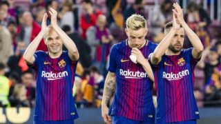 FC Barcelona midfielder Andres Iniesta (8), FC Barcelona midfielder Ivan Rakitic (4) and FC Barcelona defender Jordi Alba (18) agree the support to the followers during the match between FC Barcelona v Real Madrid, for the round 36 of the Liga Santander, played at Camp nou  on 6th May 2018 in Barcelona, Spain.  -- (Photo by Urbanandsport/NurPhoto)