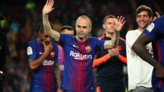Andres Iniesta celebration at the end of the match between FC Barcelona and Real Madrid CF, played at the Camp Nou Stadium on 06th May 2018 in Barcelona, Spain.  Photo: Joan Valls/Urbanandsport /NurPhoto  -- (Photo by Urbanandsport/NurPhoto)