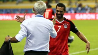 LIBREVILLE, GABON - FEBRUARY 1: Ahmed Fathy of Egypt celebrates winning with head coach Hector Cuper after the 2017 Africa Cup of Nations semi-final football match between Burkina Faso and Egypt at the Stade de l'Amitie Sino-Gabonaise in Libreville on February 1, 2017.   Fared Kotb / Anadolu Agency