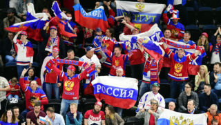 5490962 06.05.2018 Russian fans during the IIHF Ice Hockey World Championship's group stage match between the national teams of Russia and Austria. Alexey Kudenko / Sputnik