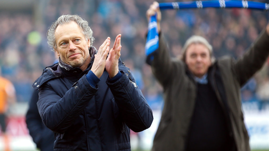 Former Club Brugge head coach Michel Preud'homme pictured at the start of the Jupiler Pro League match between Club Brugge and RSC Anderlecht, in Brugge, Sunday 17 December 2017, on the day 19 of the Jupiler Pro League, the Belgian soccer championship season 2017-2018. BELGA PHOTO BRUNO FAHY
