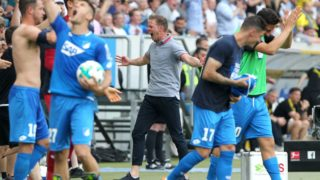 Hoffenheim's coach Julian Nagelsmann reacts at the end of the German first division Bundesliga football match TSG 1899 Hoffenheim vs Borussia Dortmund in Sinsheim, southern Germany, on May 12, 2018. Hoffenheim won 3-1. / AFP PHOTO / Amelie QUERFURTH / RESTRICTIONS: DURING MATCH TIME: DFL RULES TO LIMIT THE ONLINE USAGE TO 15 PICTURES PER MATCH AND FORBID IMAGE SEQUENCES TO SIMULATE VIDEO. == RESTRICTED TO EDITORIAL USE == FOR FURTHER QUERIES PLEASE CONTACT DFL DIRECTLY AT + 49 69 650050