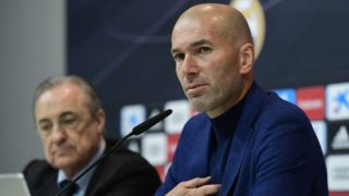 Real Madrid's French coach Zinedine Zidane gives a press conference to announce his resignation in Madrid on May 31, 2018. Real Madrid coach Zinedine Zidane said today he was leaving the Spanish giants, just days after winning the Champions League for the third year in a row.   / AFP PHOTO / PIERRE-PHILIPPE MARCOU