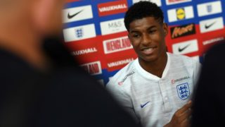 England's striker Marcus Rashford attends a open media day at St George's Park in Burton-on-Trent on June 5, 2018, ahead of their international friendly football matches against Costa Rica. / AFP PHOTO / Paul ELLIS / NOT FOR MARKETING OR ADVERTISING USE / RESTRICTED TO EDITORIAL USE