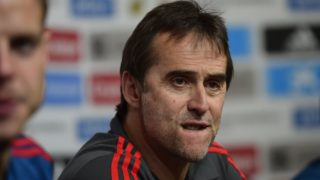 Spain national football team coach Julen Lopetegui reacts during a press conference at Krasnodar's stadium on June 8, 2018 on the eve of the international friendly match against Tunisia. / AFP PHOTO / Pierre-Philippe MARCOU