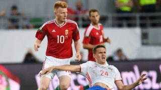 3122576 06/05/2017 Hungary's player Zsolt Kalmar, left, and Russia's Alexander Bukharov at the football friendly match between the national teams of Hungary and Russia. Alexander Vilf/Sputnik