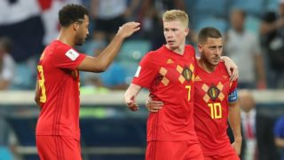 Belgium's Mousa Dembele, Belgium's Kevin De Bruyne and Belgium's Eden Hazard celebrate after the first round soccer match between Belgian national soccer team the Red Devils and Panama in Group G of the FIFA World Cup 2018, in Sochi, Russia, Monday 18 June 2018. BELGA PHOTO BRUNO FAHY
