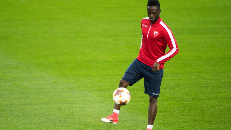Belgrade's Abraham Frimpong pictured during a training session at the Rheinenergie-Stadion in Cologne, Germany, 27 September 2017. FC Cologne face Red Star Belgrade in the group phase of the Europa League on 28.09.2017. Photo: Marius Becker/dpa