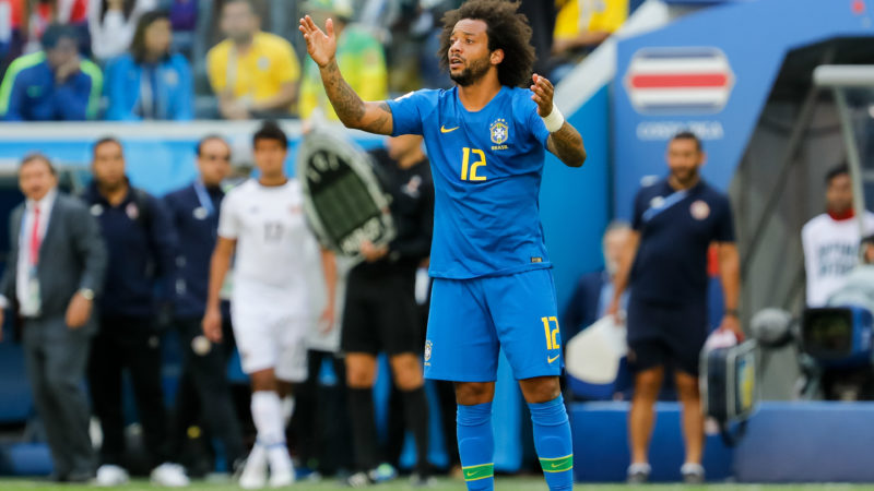 Marcelo of Brazil national team reacts during the 2018 FIFA World Cup Russia group E match between Brazil and Costa Rica on June 22, 2018 at Saint Petersburg Stadium in Saint Petersburg, Russia. (Photo by Mike Kireev/NurPhoto)