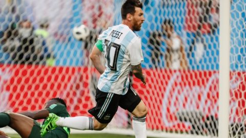 Lionel Messi (C) of Argentina national team celebrates his goal during the 2018 FIFA World Cup Russia group D match between Nigeria and Argentina on June 26, 2018 at Saint Petersburg Stadium in Saint Petersburg, Russia. (Photo by Mike Kireev/NurPhoto)